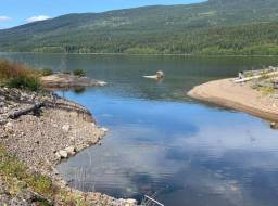 Mouth of rebuilt Edney Creek at Quesnel Lake. Cleaned shoreline with gravel placed for fish spawning, planted shrubs, and placed coarse woody debris--Aug 2019